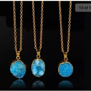 Jewelry - New druzy long necklace gold blue boho stone